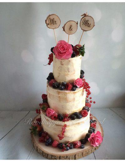 seminaked cake bruidstaart fruit suikerbloemen